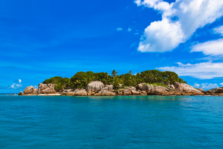 praslin: Tropical island at Seychelles - vacation nature background Stock Photo