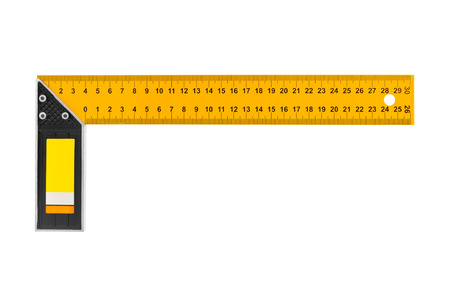 square ruler: Construction square triangle ruler isolated on white background Stock Photo