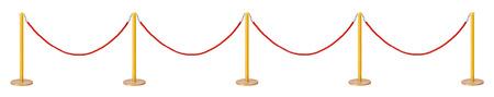velvet rope barrier: Golden velvet rope barrier isolated on white background Stock Photo