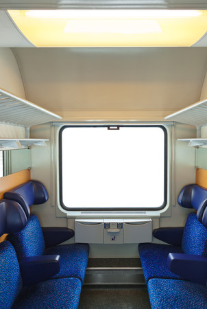 compartments: Interior of train and blank window - travel background