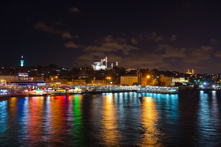 istanbul night: Istanbul Turkey at night - architecture travel background