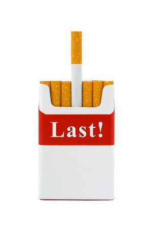 Last cigarette - stop smoking concept - isolated on white background Stock Photo