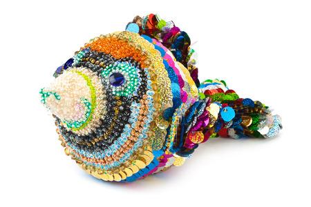 squama: Knitted toy fish isolated on white background Stock Photo
