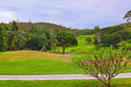 Golf field at island Praslin Seychelles - sport background photo