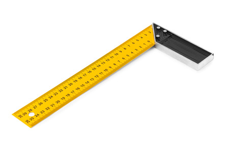 architect tools: Construction square triangle ruler isolated on white background Stock Photo