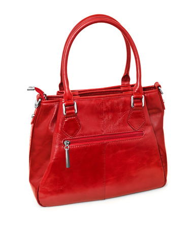 red hand: Red hand bag isolated on white