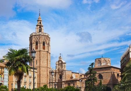 bell tower: View Plaza de la Reina - Valencia Spain Stock Photo