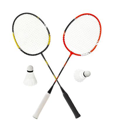 rackets: Badminton racket isolated on white background
