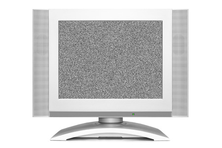 Noise on TV screen isolated on white background photo