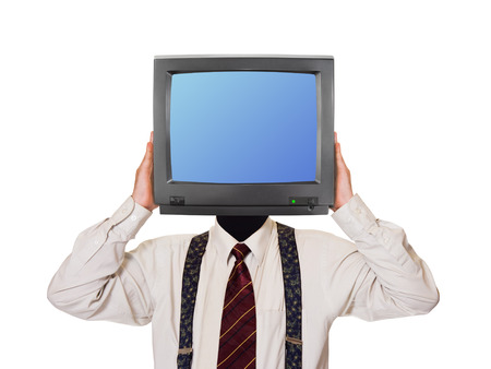 Man with tv screen for head isolated on white background photo