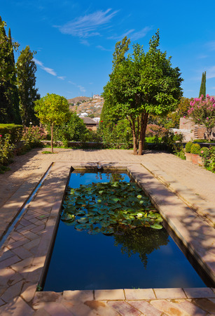 Alhambra palace at Granada Spain - architecture and nature background photo