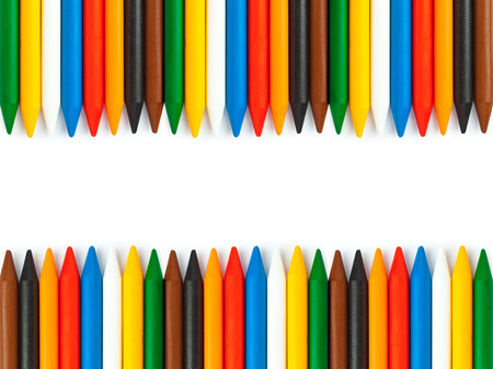 Colored vax pencils isolated on white background