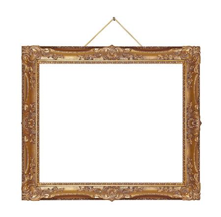 Retro frame on rope isolated on white background photo