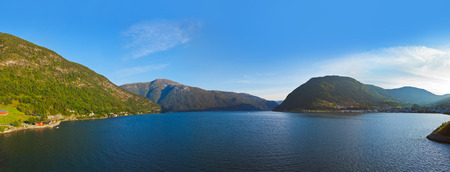 Fjord Sogndal in Norway - nature and travel background photo