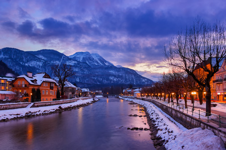 Spa resort Bad Ischl Austria at sunset - nature and architecture background photo