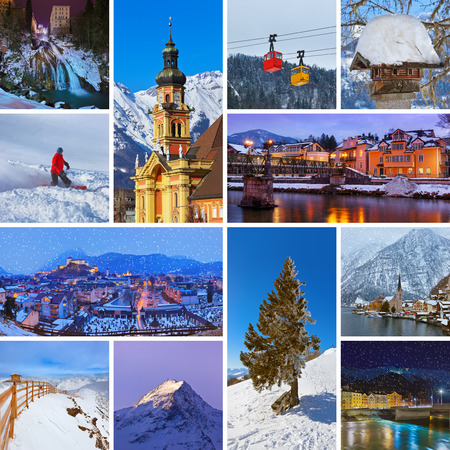 Collage of Austria images - nature and sport background photo