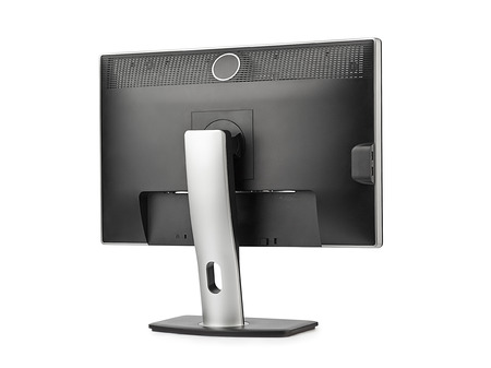 flat panel monitor: Computer monitor rear view isolated on white background