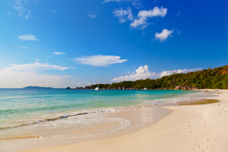 Beach Anse Lazio at island Praslin Seychelles - nature background photo