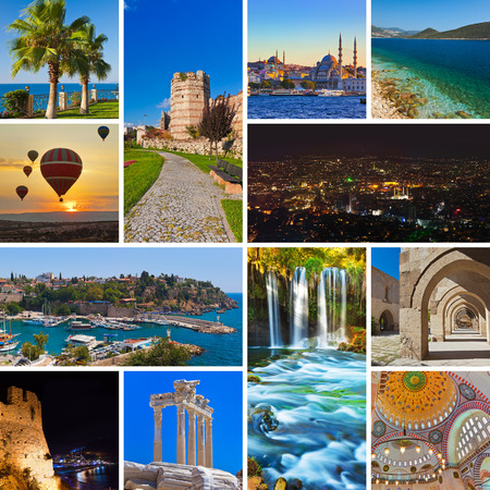 istanbul beach: Collage of Turkey images - travel and nature background (my photos)