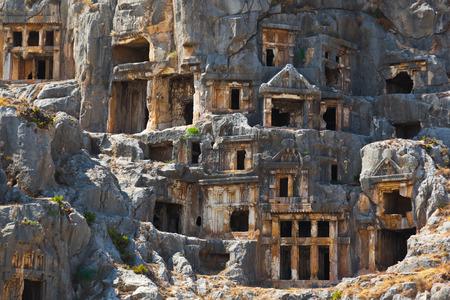 tumbas: Antigua ciudad de Myra, Turquía - Fondo de la arqueología