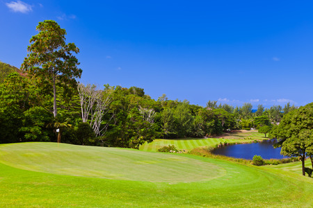 Golf field at island Praslin Seychelles - nature background photo