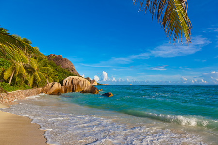 d argent: Tropical beach Source DArgent at Seychelles - nature background Stock Photo