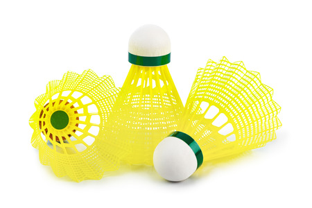 Badminton shuttlecock isolated on white background photo