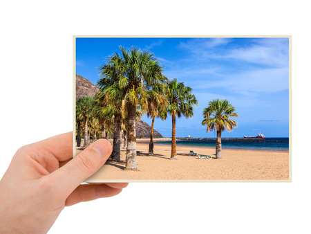 Tenerife Canary photography in hand (my photo) isolated on white background photo