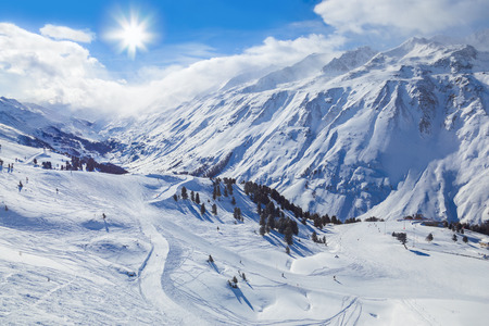 downhill skiing: Mountain ski resort Hochgurgl Austria - nature and sport background