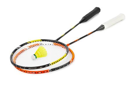 Badminton racket and shuttlecock isolated on white background photo