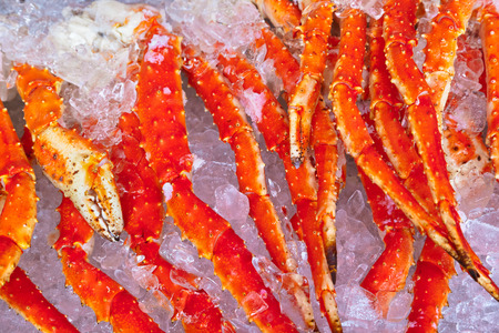 raw lobster: Fresh seafood in fish market - food background