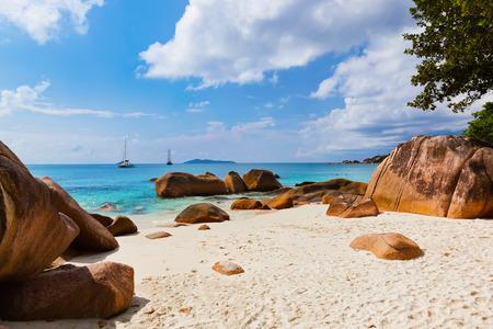 anse: Beach Anse Lazio at island Praslin Seychelles - nature background Stock Photo