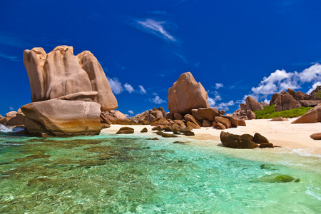 panoramic nature: Tropical beach at Seychelles - nature background