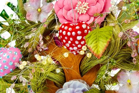 Decorative toy tree - holiday background photo