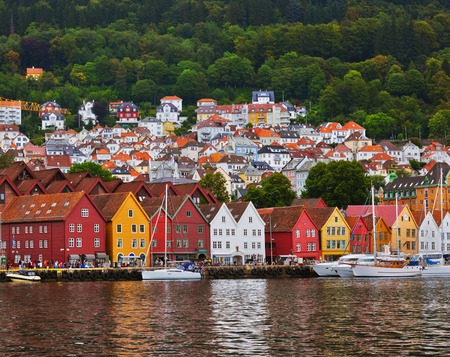 old buildings: Famous Bryggen street in Bergen Norway - architecture background