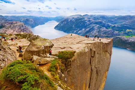 fiord: Cliff Preikestolen in fjord Lysefjord - Norway - nature and travel background