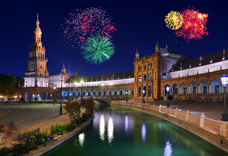 espana: Fireworks in Sevilla Spain - holiday background