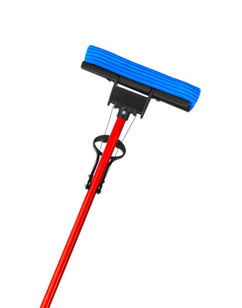 household cleaning: Mop with sponge isolated on white background