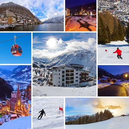 Collage of Austria images - nature and sport background