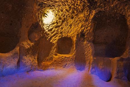 Derinkuyu cave city in Cappadocia Turkey - travel background photo