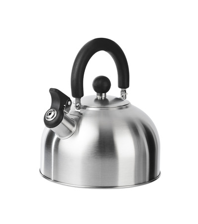 Stovetop whistling kettle isolated on white background photo
