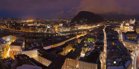 Salzburg Austria at winter night photo