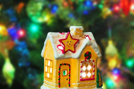 lighting background: Lighting house - christmas tree on background