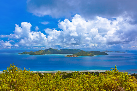vue: Island Praslin at Seychelles - nature background Stock Photo