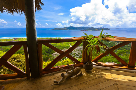 vue: Island Praslin at Seychelles - nature background Editorial