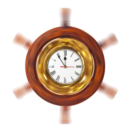 Clock in turning helm isolated on white background photo