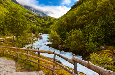 scandinavian landscape: River near Briksdal glacier - Norway - nature and travel background Stock Photo