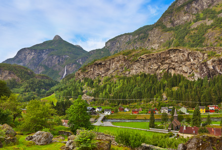 Village in Flam - Norway - nature and travel background photo