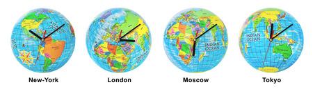 timezone: Group of clocks timezone isolated on white background
