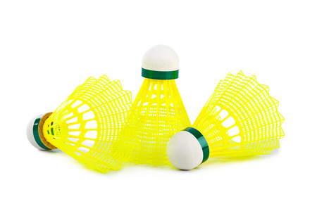 Badminton shuttlecocks isolated on white background photo